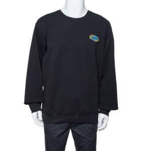 سويت شيرت سوبريم مزخرف شعار الماركة سلسلة قطن أسود مقاس كبير جداً (اكس لارج)