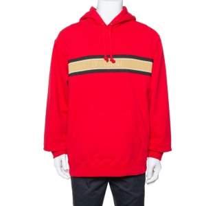 هودي سوبريم قطن أحمر نمط مخطط بالشعار مزين مقاس كبير جدًا - إكس لارج