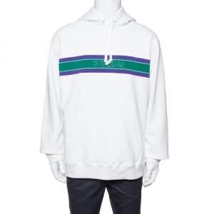Supreme White Cotton Stripe Logo Detail Hoodie XL