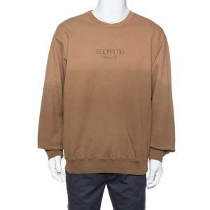 Supreme Brown Dipped Cotton Crew Neck Sweatshirt XL