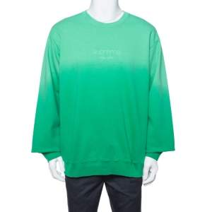 Supreme Green Dipped Cotton Crew Neck Sweatshirt XL