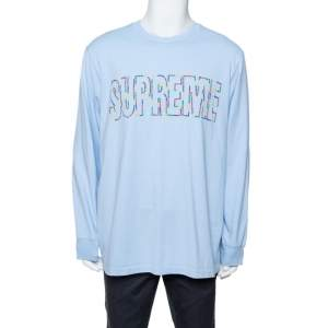 Supreme Light Blue Cotton Supreme City Embroidered Long Sleeve T-Shirt XL