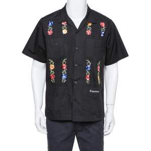 Supreme Black Cotton Blend Flowers Guayabera Shirt M