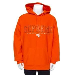 Supreme Orange Cotton Supreme Gems Hooded Sweatshirt XL