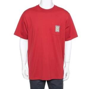 Supreme Burgundy Cotton Crest Label Pocket Crewneck T-Shirt XL