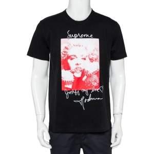 Supreme Black Cotton Madonna Graphic Printed Crewneck T-Shirt M