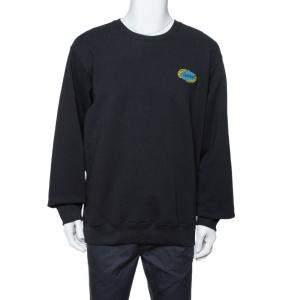 Supreme Black Cotton Chain Logo Embroidered Sweatshirt XL