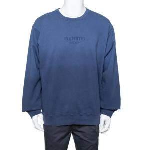 Supreme Navy Blue Dipped Cotton Crew Neck Sweatshirt XL
