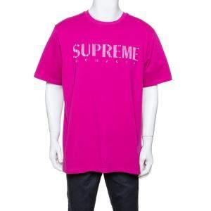 Supreme Fuschia Pink Cotton Gradient Logo Embroidered T-Shirt XL