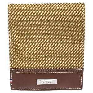S.T. Dupont Yellow/Brown Fabric and Leather Bifold Wallet