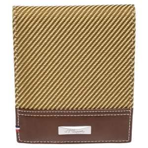 محفظة أس.تي. دوبونت طية مزدوجة جلد بني و قماش أصفر