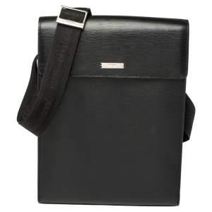 S.T. Dupont Black Leather Messenger Bag