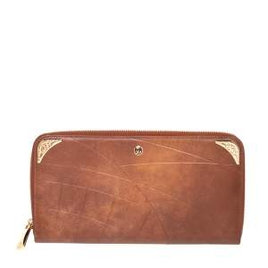 S.T. Dupont Tan Leather Limited Edition Shoot The Moon Zip Around Organizer Wallet