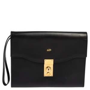 S.T. Dupont Black Leather Wristlet Clutch