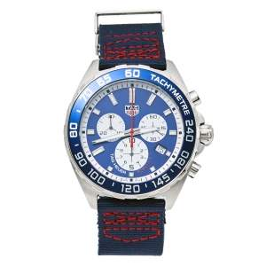 Tag Heuer Blue Stainless Steel Formula 1 Special Edition Quartz Chronograph Men's Wristwatch 43MM
