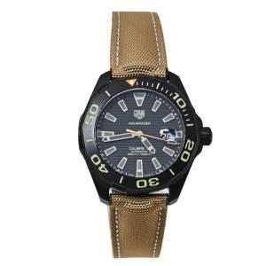 Tag Heuer Black PVD Coated Titanium Aquaracer WAY208C Men's Wristwatch 43MM