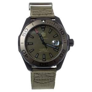 """ساعة يد رجالية تاغ هيوير """"اكواريسير سي ايه واي208إي أوتوماتيك"""" تيتانيوم مطلي پي ڨي دي أسود كاكي 43 مم"""