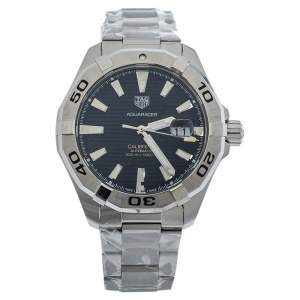 Tag Heuer Black Brushed Stainless Steel Aquaracer WAY2010 Automatic Men's Wristwatch 43 MM