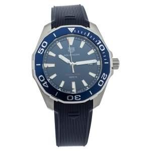 Tag Heuer Blue Rubber Stainless Steel Aquaracer WAY101C Quartz Men's Wristwatch 43MM
