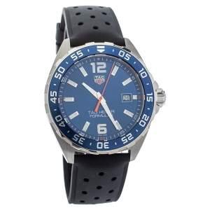 Tag Heuer Blue Stainless Steel Rubber Formula 1 WAZ1010 Quartz Men's Wristwatch 43MM