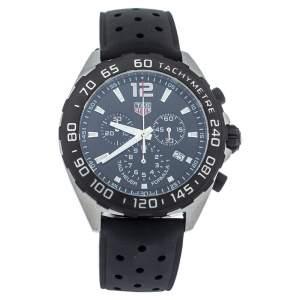 Tag Heuer Black Stainless Steel Rubber Formula 1 CAZ1010 Quartz Men's Wristwatch 43MM