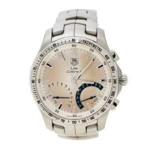 ساعة يد رجالية تاغ هيوير لينك كاليبر  S CJF7111 ستانلس ستيل أبيض فضية 42مم