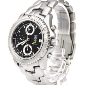 Tag Heuer Black Stainless Steel Link Chronograph Ayrton Senna CT2115 Men's Wristwatch 40 MM