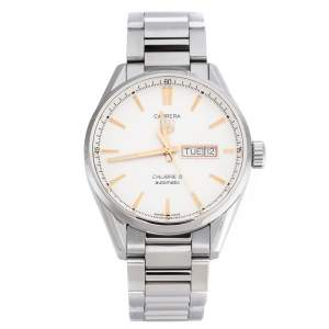 Tag Heuer White Stainless Steel Carrera Calibre 5 WAR201D.BA0723 Men's Wristwatch 40 mm