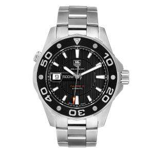 ساعة يد رجالية تاغ هيوير اكواريسر كاليبر 5 500ام دبليو ايه جيه2110 ستانلس ستيل سوداء 43مم