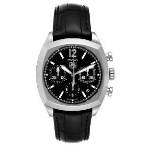Tag Heuer Black Stainless Steel Monza Chronograph CR2113 Men's Wristwatch 37 MM