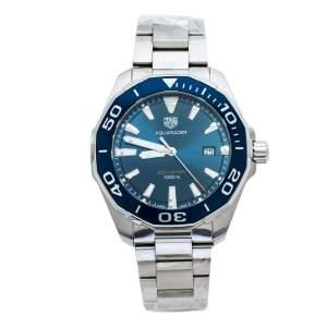 """ساعة يد رجالية تاغ هيوير """"اكواريسير دبيلوايه واي101بي.بي ايه0746"""" ستانلس ستيل زرقاء 43 مم"""