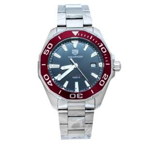 Tag Heuer Black/Red Stainless Steel Aquaracer WAY101B.BA0746 Men's Wristwatch 43 mm