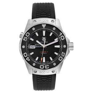 Tag Heuer Black Stainless Steel Aquaracer Calibre 5 500M WAJ2110 Men's Wristwatch 43 MM