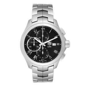 Tag Heuer Black Stainless Steel Link Chronograph CAT2012 Men's Wristwatch 43 MM