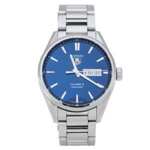TAG Heuer Blue Stainless Steel Carrera Calibre 5 WAR201E.BA0723 Men's Wristwatch 41 mm