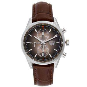 Tag Heuer Brown Stainless Steel Carrera Chronograph CAR2112 Men's Wristwatch 41 MM