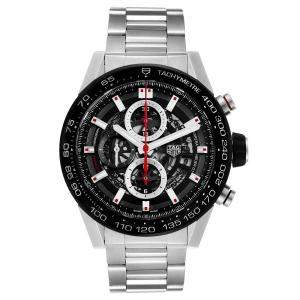 Tag Heuer Black Stainless Steel Carrera Automatic Chronograph CAR2A1W Men's Wristwatch 45 MM