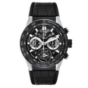 Tag Heuer Black Titanium Carrera Tourbillon Chronograph CAR5A8Y Men's Wristwatch 45 MM
