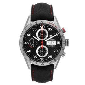 ساعة يد رجالية تاغ هيوير كاريرا كاليبر 16 يوم التاريخ CV2A80 سوداء 43 مم