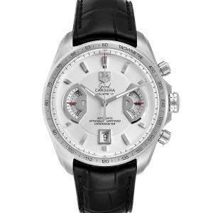 Tag Heuer White Stainless Steel Grand Carrera AV511B Men's Wristwatch 43 MM