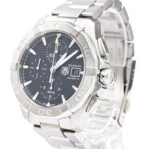 Tag Heuer Black Stainless Steel Aquaracer Calibre 16 Chronograph CAY2110 Men's Wristwatch 43 MM