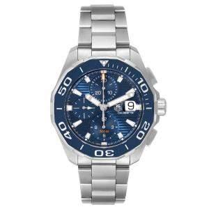 ساعة يد رجالية تاغ هيوير أكواريسر CAY211B ستانلس ستيل زرقاء 43 مم