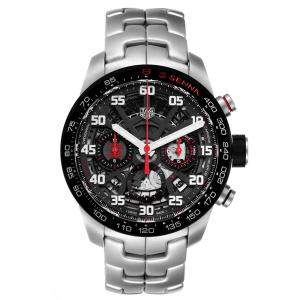 Tag Heuer Black Stainless Steel Carrera Senna Special Edition Chronograph CBG2013 Men's Wristwatch 43 MM