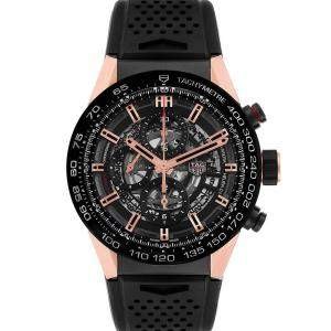 Tag Heuer Black 18K Rose Gold And Titanum Carrera Caliber Heuer 01 CAR205A Men's Wristwatch 43 MM