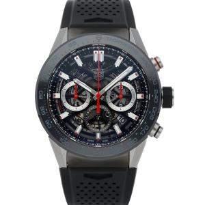 ساعة يد رجالية تاغ هيوير كاريرا كاليبر هيوير 02 CBG2A10.FT6168 ستانلس ستيل سوداء 45 مم