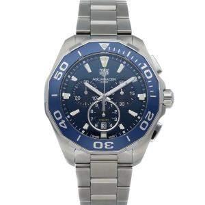 ساعة يد رجالية تاغ هبوير أكواريسر كرونوغراف CAY111B.BA0927 ستانلس ستيل زرقاء 43 مم