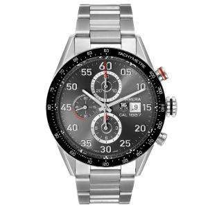 Tag Heuer Gray Stainless Steel Carrera Chronograph CAR2A11 Men's Wristwatch 43 MM