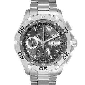 Tag Heuer Gray Stainless Steel Aquaracer Day Date Chronograph CAF5011 Men's Wristwatch 43 MM