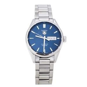 """ساعة يد رجالية تاغ هيوير """"كاريرا كاليبر 5 دبليو ايه أر201اي.بي ايه0723"""" ستانلس ستيل زرقاء 41 مم"""