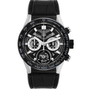 Tag Heuer Black Titanium Carrera Tourbillon Chronograph CAR5A8Y Men's Wristwatch 45 MM